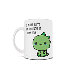 If you are happy and you know it clap your hands! Unless you are a T-Rex….  Show off your punny side with this 11 oz ceramic mug!