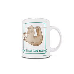 "This 11 oz ceramic coffee mug is perfect for the days where you are functioning at a record slow speed as it shows a cute image of a sloth and the phrase ""How slow can you go?"""