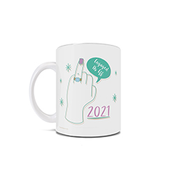 "This 11 oz ceramic coffee mug features an artistic design of a ring finger, the quote ""Engaged As Eff"" and the year of your engagement."