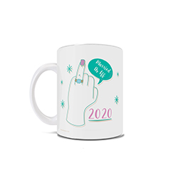 "This 11 oz ceramic coffee mug features an artistic design of a ring finger, the quote ""Married As Eff"" and the year of your wedding. Comes with hanging string for easy display."