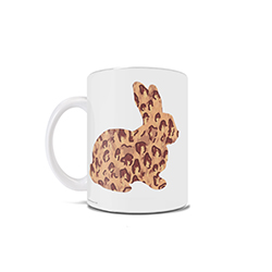 This 11 oz ceramic coffee mug features the outline of an adorable bunny rabbit designed with a trendy cheetah print. This is the perfect gift or accessory for anyone trying to remain on trend in the 21st century!