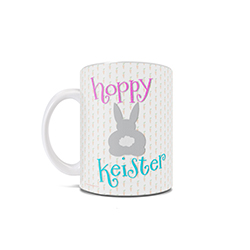 "This 11 oz ceramic coffee mug is certain to get you in the spirit of Easter Sunday celebrations. Featuring the phrase ""Hoppy Keister"" and the backside of a fluffy bunny rabbit, this clever play on words is sure to make anyone giggle."