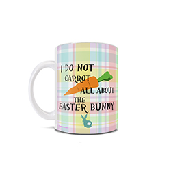 """I do not carrot all about the Easter bunny!"" This cute phrase appears on this 11 oz ceramic white mug along with a background of plaid pastel hues and the backside of a distraught bunny rabbit."