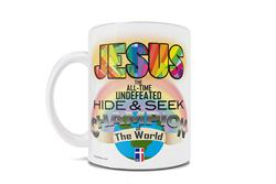 This 11 oz ceramic coffee mug features many hidden details, including stained mosaic glass that is common in churches across the globe and a flag that appears to display a cross with the initials JHC for Jesus H. Christ.