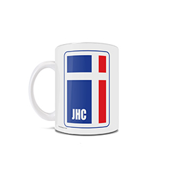 This 11 oz ceramic mug is certain to make you chuckle. Featuring a flag logo design that appears to sport a cross in red, white and blue as well as the initials JHC, this mug is a great conversation starter.