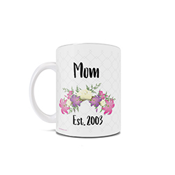 Happy first Mother's Day! This 11 oz ceramic mug features a delicate floral design and allows you to personalize the year and name.