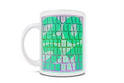 "This 11 oz ceramic mug has a retro vibe a bright green ""2021"" hiding behind block letters that spell out the words ""Motived, Intoxicated, Agitated, Vaccinated, Concentrated, Educated, Graduated."""