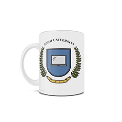 "This 11 oz ceramic mug features a graphic of a laptop with a crest and the phrase ""Zoom University 2021"", perfect for anyone who spent a chunk of their education career online learning."
