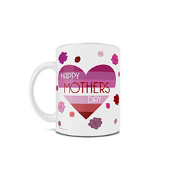 "Featuring the pink and purple hues of the Lesbian Pride flag within a heart, multi-colored flowers and the phrase ""Happy Mothers Day"", this LGBTQ+ inspired 11 oz ceramic mug is perfect for anyone celebrating a pair of mothers this Mother's Day."