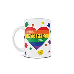 "Featuring the rainbow colors of the Pride flag within a heart, multi-colored flowers and the phrase ""Happy Mothers Day"", this LGBTQ+ inspired 11 oz ceramic mug is perfect for anyone celebrating a pair of mothers this Mother's Day."