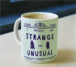 """I myself am strange and unusual.""  Drink from this officially licensed Beetlejuice mug while you flip through the pages of your Handbook for the Recently Deceased."
