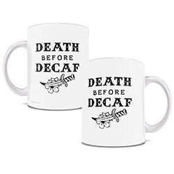 White ceramic mug features black text and image of dagger with words