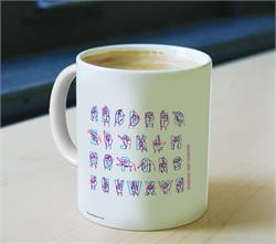 This mug shows each ASL hand sign for the entire alphabet!