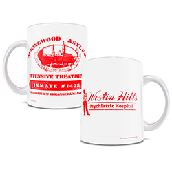 Westin Hills Psychiatric Hospital – a sanitarium for the deranged and maniacal. This white ceramic mug features an image of the hospital on one side, with Freddy standing next to the logo on the other.