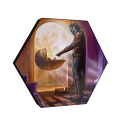 "This 11.5"" X 10"" hexagon shaped décor displays the scene of Mandalorian Season 1 where Mando and Baby Yoda meet for the first time, touching hands."