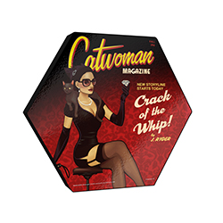 "This officially licensed DC Comics 11.5"" X 10"" hexagon shaped wood print displays Catwoman on the cover of ""Catwoman Magazine"" holding a diamond as she sits with a black cat on her shoulder."