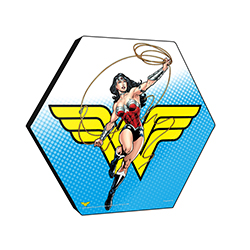 "This 11.5"" X 10"" hexagon shaped wood print displays Diana Prince with the Lasso of Truth against a background featuring the Wonder Woman logo."