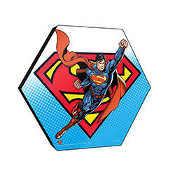 "This officially licensed DC Comics 11.5"" X 10"" hexagon shaped wood print displays Superman flying into action against a background featuring the Superman logo."