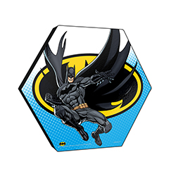 "This officially licensed DC Comics  11.5"" X 10"" hexagon shaped wood print displays the Dark Knight flying to save the day in front of a background featuring the Batman logo."