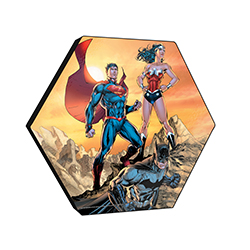 "This officially licensed DC Comics  11.5"" X 10"" hexagon shaped wood print displays the Batman, Wonder Woman and Superman standing firmly as they prepare to take a stand against evil."