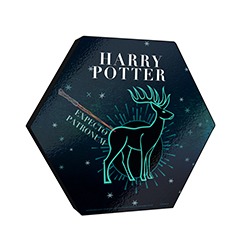 "This 11.5"" X 10"" hexagon shaped wood print displays an artistic design of Harry Potter's stag Patronus along with his wand."