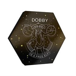 "This officially licensed Harry Potter 11.5"" X 10"" hexagon shaped décor shows a minimalistic design of Dobby featuring a sock and the phrase ""Dobby is a Free Elf."""