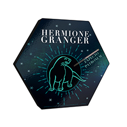 "This officially licensed Harry Potter 11.5"" X 10"" hexagon shaped wood print displays an artistic design of Hermione Granger's otter Patronus along with her wand."