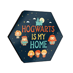 ". This 11.5"" X 10"" hexagon shaped wood print features cute Chibi cartoon designs of your favorite Harry Potter characters and the phrase ""Hogwarts is My Home."""