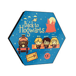 "All aboard the Hogwarts Express! This 11.5"" X 10"" hexagon shaped wood print features cute Chibi cartoon designs of Harry, Ron and Hermione as they make their way back to Hogwarts to attend another year at the famous school."