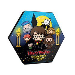 "This 11.5"" X 10"" hexagon shaped décor shows Harry Potter, Ron, Hermione, Dumbledore, Hagrid, Hedwig and Professor McGonagall are designed in a cute, cartoon-ish Chibi style art."