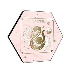 "This officially licensed Harry Potter 11.5"" X 10"" hexagon shaped wood print displays the Slytherin serpent, key Slytherin characteristics and the star placement of its corresponding correlation."