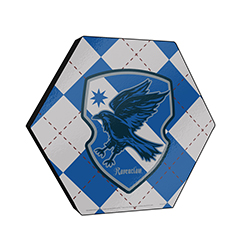 "This officially licensed Harry Potter  11.5"" X 10"" hexagon shaped décor displays the Ravenclaw house crest and an argyle blue, silver and bronze background."