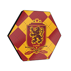 "This officially licensed Harry Potter 11.5"" X 10"" hexagon shaped décor displays the Gryffindor house crest and an argyle red and gold background."