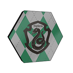 "This officially licensed Harry Potter 11.5"" X 10"" hexagon shaped décor displays the Slytherin serpent mascot and an argyle green, black and silver background."