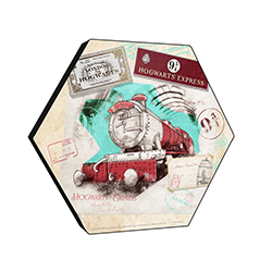 "This officially licensed Harry Potter 11.5"" X 10"" hexagon shaped décor displays a watercolor collage featuring the Hogwarts Express, the Platform 9 ¾ sign, train tickets and more!"