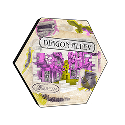 "This officially licensed Harry Potter 11.5"" X 10"" hexagon shaped décor displays a watercolor collage featuring the iconic Diagon Alley, the Ollivander's wand shop sign and more!"
