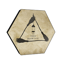"This officially licensed Harry Potter 11.5"" X 10"" hexagon shaped décor displays The Three Broomsticks' minimalistic logo."