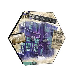 "This officially licensed Harry Potter 11.5"" X 10"" hexagon shaped décor displays a watercolor collage of iconic designs from Knockturn Alley, including the Borgin & Burke sign and a WANTED poster for Bellatrix Lestrange."