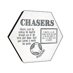 "This officially licensed Harry Potter 11.5"" X 10"" hexagon shaped wood print explains the Chaser's role in Quidditch."