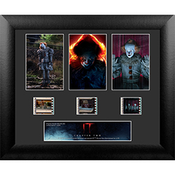 Pennywise takes center stage in this framed 3 cell standard FilmCell collectible. The Dancing Clown from IT Chapter Two is ready to welcome The Losers Club back to Derry, Maine, and wants to keep them there forever! Show off your love for the horror genre
