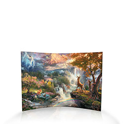 A lot of changes can happen in a young deer's life – and this narrative panorama by Thomas Kinkade captures it perfectly. On the left, we see a tender moment from his early months with his mother. Center left are his closest friends Flower and Thumper