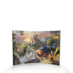 25 years ago, Beauty and the Beast made its animated premiere and went on to be one of the most acclaimed of Disney's films. This free-standing, light-catching curved acrylic print features a scene from the beloved tale as imagined by the painter of light