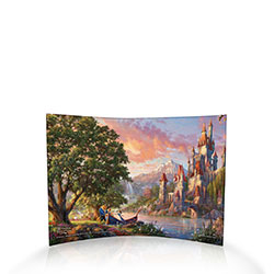 25 years ago, Beauty and the Beast made its animated premiere and went on to be one of the most acclaimed of Disney's films. This free-standing, light-catching curved acrylic print features a scene from the beloved tale.  Beast assists Belle from the boat