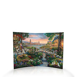 Thomas Kinkade Studios brings another level of charm to Disney's 101 Dalmatians. In a lush, colorful park, a parade of puppies tumbles across a bridge while even more adorable spots surround the human and canine lovebirds.