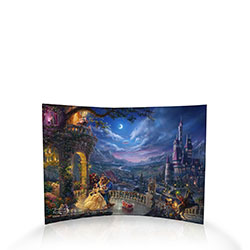 "Let your mind wander into this expansive curved acrylic piece featuring the masterful work of Thomas Kinkade Studios. This scratch and fade resistant collectible endure like ""tales as old as time"" with this luminous scene of Disney's Beauty and the Beast."