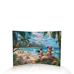 Mickey plays the ukulele while Minnie dances a hula. Like all the art from Thomas Kinkade Studios, this image is full of charming details – from the tiny hearts in Minnie's sandals, to the carved initials in the stone.