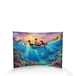 Disney's Ariel, the Little Mermaid, and Prince Eric, are falling in love by sea and shore in this charming, vivid curved acrylic print.