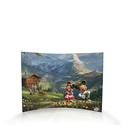 Disney's Mickey and Minnie Mouse are enjoying the mountain air in the Swiss Alps with friends nearby.  This image by Thomas Kinkade Studios is full of nature, color, and details that are illuminated as natural light passes through the free-standing print.