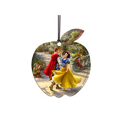 Snow White and her prince are all smiles and twirls while a couple of her friends look on. One doesn't seem to be enjoying himself very much!  This officially licensed, apple-shaped Disney and Thomas Kinkade Studios image is full of color, nature