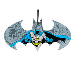 This Bat symbol shaped hanging acrylic collectible features Batman in front of a background of Batman…Batmen? Batmans? Either way, it's the décor you deserve and need.  In vivid comic style, Batman dashes into vigilante action.